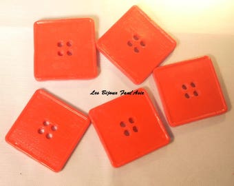 Set of 5 handmade buttons 30mm red square polymer clay