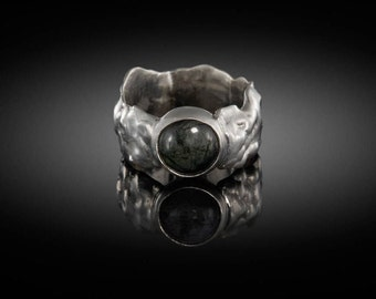 Rustic silver ring with tourmaline rutilated quartz stone