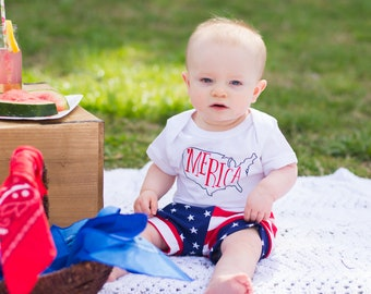 4th of July Outfit Baby Boy - Memorial Day Outfit Baby Boy - Baby Boy Fouth of July Outfit - Merica Bodysuit - American Flag Shorts
