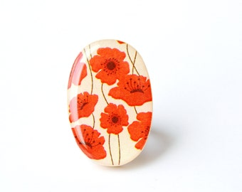 Red Poppy Statement Ring, Adjustable Wooden Ring