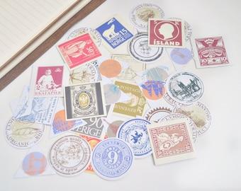 40 pcs Travel Passport Stamps Planner Stickers, Decorative Stickers - STK104