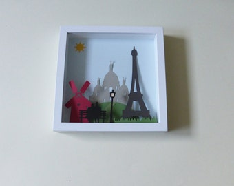 Table cut paper, theme Paris