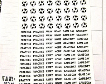 Tiny Soccer Practice & Game Time Reminder Planner Stickers Fits Erin Condren, KikkiK, Filofax Planners and Midori Notebooks