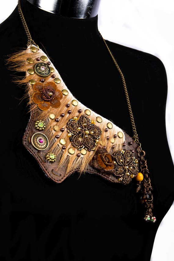 Recycled leather steampunk, Celtic, country style  necklace
