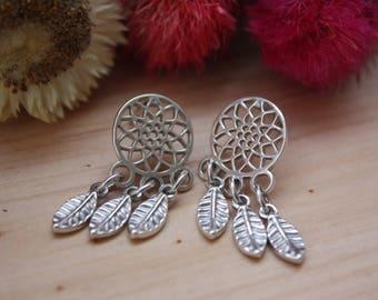 Dream catcher sterling silver earrings, Native American jewelry, Southwestern earrings, Dream catcher earrings, Hippie jewelry, Handmade