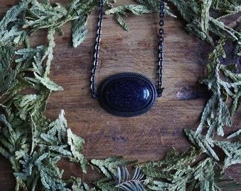 Blue Goldstone Victorian Brass Necklace - Choker Necklace - Boho Choker - Crystal Choker