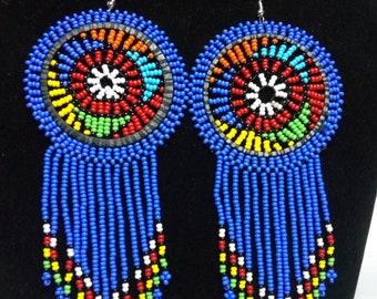 ON SALE African Zulu earrings, Blue earrings, Beaded earrings, Boho earrings, Zulu earrings, Gift for her, Elegant earrings, Tribal earrings