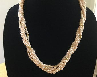 """Vintage Faux Pearl 22"""" Necklace, Faux Light Pink & Gold Pearl Bridal Princess Necklace, Vintage Costume Jewelry, Fashion Unique Jewelry,"""