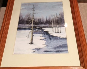 """March Thaw"""" - matted-framed print"""
