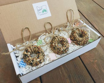 Bird Seed Wreath Gift Set of (3) bird seed ornaments, Holiday gift, birdseed wreath, coworker gift, bird feeder, teacher gift