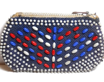 Vintage Red, White and Blue Beaded Coin Purse