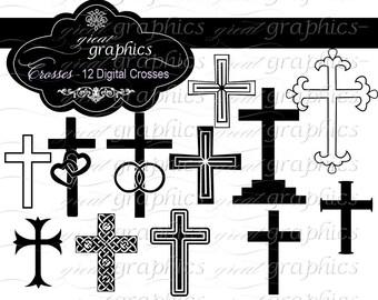 Cross Clip Art Cross Clipart Baptism Clipart Wedding Clipart Digital Cross Christening Clipart Wedding Clip Art - Instant Download