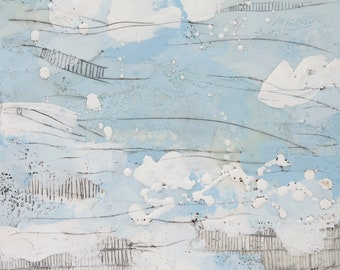 """Abstract Encaustic Painting // """"Fading Away II"""""""
