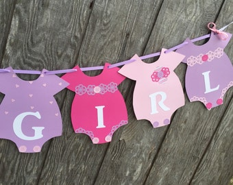 Pink and Purple Baby Shower Banner, It's a Girl Banner, Onesie Banner, Gender Reveal Banner, Purple Baby Shower Banner