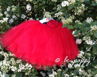 SHORT RED TUTU skirt - Tea lenght Red tulle skirt woman - 8 layers sewn tutu - Custom - Adult tutu skirt - Girl tulle skirt - Flower girl