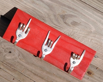 Small Red Fork U x Rock on x Love KEYs Rack Recycled Silverware