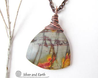 Red Creek Jasper Pendant, Natural Stone Necklace, One of a Kind, Earthy Stone Jewelry, Wire Wrapped Pendant, Stone Necklace with Chain
