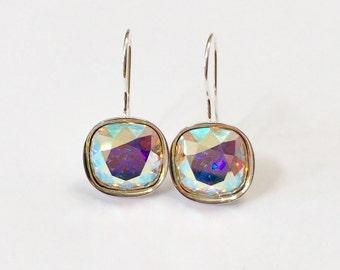 Aurora Borealis Swarovski Crystal Earrings Fancy Cushion Cut Dangle Drop Earring