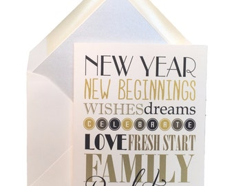 """Happy New Year Cards, Box of 8 w/ lined envelopes, Greeting Cards, Celebrate, January, resolutions, New Beginnings, Fresh Start,  4"""" X 5.5"""""""