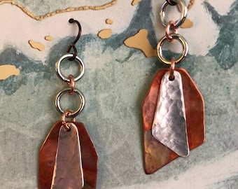 ABSTRACT DELIGHTS.. dangles, copper, sterling, freeform, modern