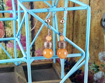 Handmade Watermelon Jade & Copper Earrings