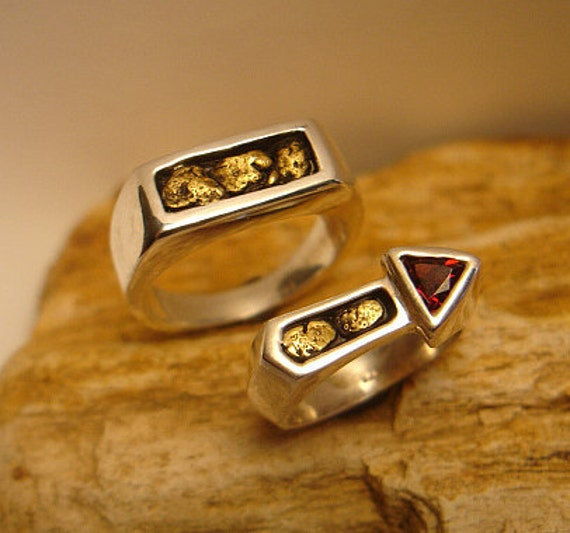 Gold Nug Ring Mens Gold Nug Ring Gift for Husband 14k