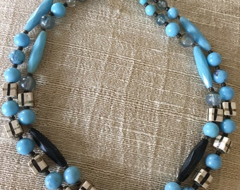 Made in Germany Turquoise and Brown Beaded Necklace, Mid Century Estate Jewelry