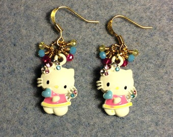 Off white, pink, and turquoise enamel kitty charm earrings adorned with tiny dangling pink, turquoise, and yellow Chinese crystal beads.