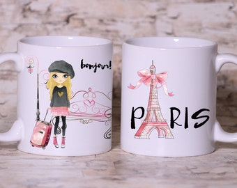 Pink Paris Bonjour Paris Mug - Made to Order with Free Gift Box