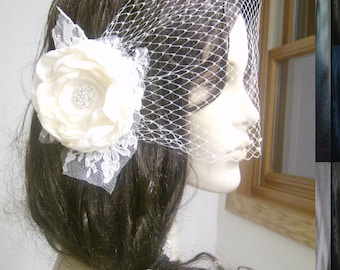 SALE Birdcage Veil, Wedding Veil, Bridal Veil, Ivory Birdcage Veil: Modarage Veil