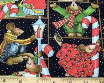 Fat Quarter « Célébrer vos chaussettes Off » Allover carrés #4905 Noël souris Candy Cane gâteau Lamp post - Beth Yarbrough Daisy Kingdom - Poo