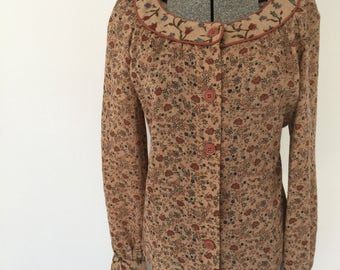 Vintage FLORAL PEASANT Blouse • 1970s Women Clothing • Long Bell Sleeve Button Front Shirt Neutral Medium Large Top Shirt Dalani Made in USA