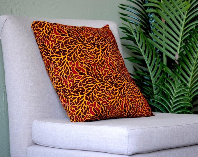 Red Branches // Ankara Throw Pillow Cover