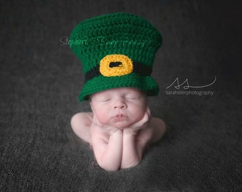 Crochet Newborn, 0-3 Months, 3-6 Months, Irish Baby Leprechaun Top Hat, Custom, Photo Prop, Photography Prop, Shower Gift, St Patrick's Day