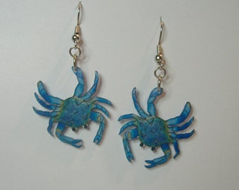 Handcrafted Plastic Blue Crab Dangle Earrings Gifts for Her