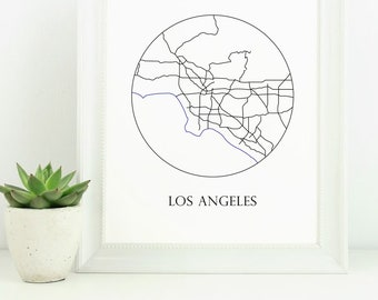 modern los angeles mapabstract los angeles artblack and white los angeles digital