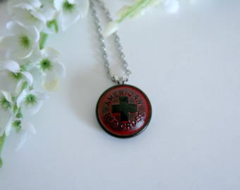 American Red Cross Necklace Emergency medical first aid disaster relief - available in a red/black color