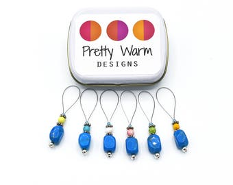 Snag Free Knitting Stitch Markers - Beaded Stitch Markers - Turquoise Stitch Markers - Gift for Mom - Knitting Supplies - Knitting Markers