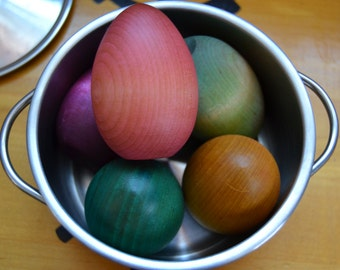 Wooden Easter Eggs Sealed with Homemade Beeswax Polish to Celebrate Easter and Spring - Large Size