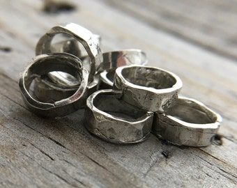 Sterling Silver Jump Ring Sterling Silver Wide Hammered Rustic Jump Ring Jewelry Findings Handmade In USA