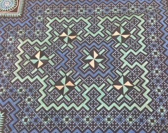 "Vintage Hmong Fabric - Vintage Cross-Stitch Fabric - Hand Embroidered - Hmong Hill Tribe - Tribal Fabric - Asian Fabric  24""x 16"""