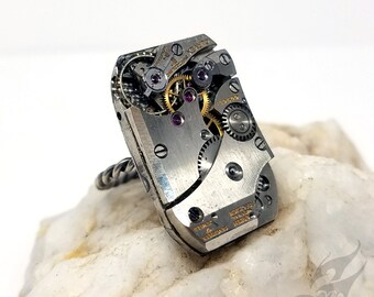 Size 8 Steampunk Ring, Gruen Curvex Watch Movement ~ Handmade Sterling Silver Rope Style Band ~ Fixed Size, NOT Adjustable ~ #R0095