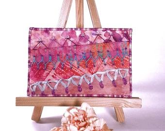 Crazy Quilt Fabric Postcard, Peach Modern Crazy Quilt Hand Embroidered Fiber Art Postcard, Modern Embroidery Art