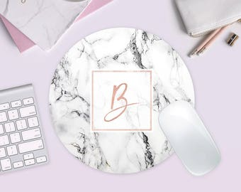 Free Shipping, Marble Mousepad, Marble Monogram Mousepad, Personalized Gift, Tech Gifts, Marble Decor, Gifts under 20
