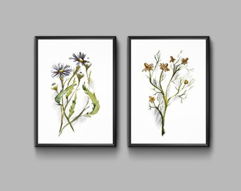 Original Watercolor SET chamomile art, chamomile watercolor, flowers watercolor set, home decor, Garden gifts, chamomile Art, art gift