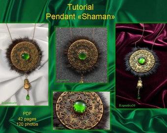 PDF tutorial pendant Shaman Polymer clay pendant tutorial Ethnic pendant tutorial Filigree pendant