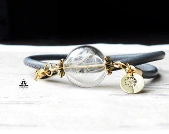 Bracelet - leather strap meets dandelion