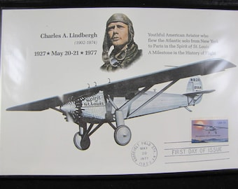 Charles Lindbergh Commemorative Collection Album // First Day of Use Stamp // Fleetwood // 50th Anniversary // 1927 - 1977