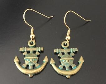 Patina Anchor Dangle Earrings, Anchor Earrings