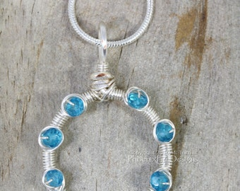 Blue Topaz Circle Necklace, Silver Wire Wrapped Pendant, Beachy Jewelry Dainty Aqua Blue Necklace, Infinity Karma Circle Outline Jewelry
